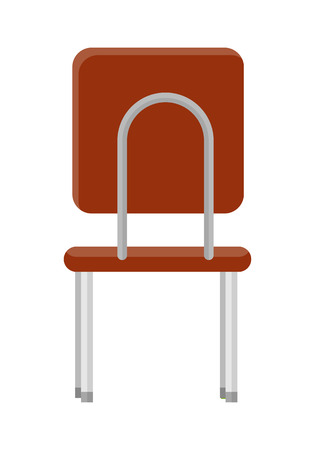 piece of furniture: Chair in retro style icon. Back view. Piece of furniture. Brown leather seat with chrome legs. Part of the series of inner business office interior design. Seating equipment. Vector illustration