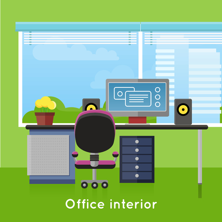 worker working: Office interior in flat style. Modern business workspace with window. Tidy organized workplace for creative worker. Modern furniture and equipment in the room. Working place with desktop. Vector