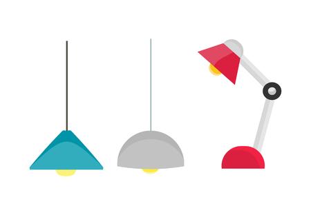 Plafond licht en tafellamp vector. Plat ontwerp. Eenvoudige klassieke kroonluchters en lamp voor kantoor, cafe, winkel en een appartement. Illustratie voor verlichting winkel catalogus. Geïsoleerd op een witte achtergrond. Vector Illustratie