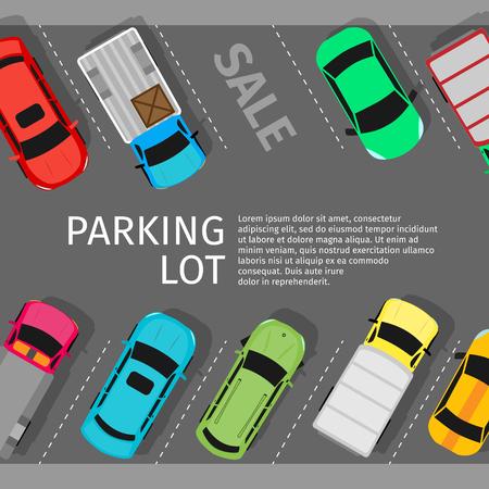 도시 주차 벡터 웹 배너입니다. 플랫 스타일. 부족한 주차 공간. 붐비는 주차장에서 많은 수의 자동차. 도시 기반 시설과 자동차 붐. 주차장