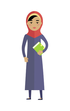 modesty: Young arabian woman with book isolated on white background. Portrait of beautiful girl in red paranja. Attractive muslim woman full length. Part of series of people of the world. Vector illustration