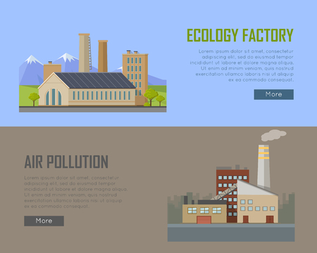destroying: Ecology factory and air pollution plant banners. Eco factory in clean picturesque place and industrial factory in polluted city with smog, environmental problems. Destroying nature. Vector illustration Illustration