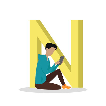 e book: N letter and boy sitting and reading e book or watching movie isolated