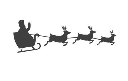Santa Claus on sleigh with reindeer silhouette Stock Illustratie