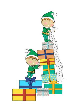 elves: Fairy elves with christmas presents