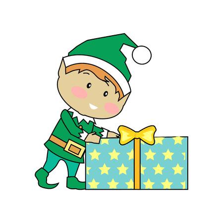 santa helper: Fairy elves with christmas presents