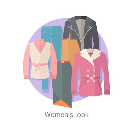 leather skirt: Women s look concept Illustration