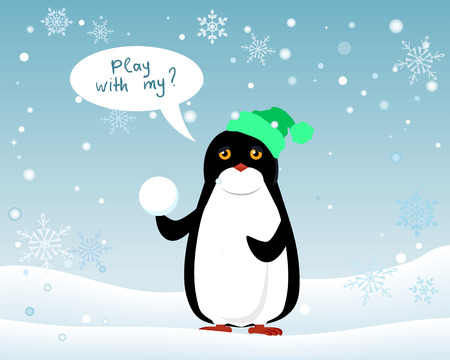 Penguin animal in green hat and snowball on winter landscape wirh speech bubble play with me.