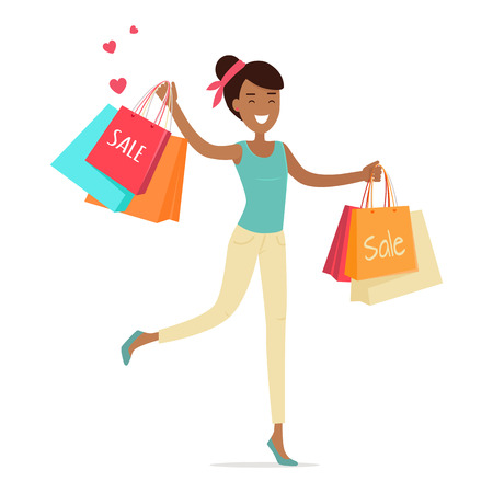 womans clothing: Sale in womans clothing store. Smiling lady dancing with shopping paper bags in hands flat illustration on white background.