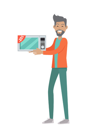 bought: Discounts in electronics store concept. Smiling man standing with microwave bought on sale flat illustration on white background.