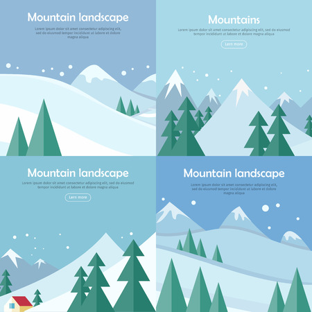 mountaineering: Mountains landscape banners set. Mountaineering mountain climbing Alpinism concept. Extreme hills in snowy high mountains.