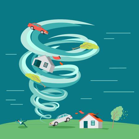 destructive: Destructive tornado concept.