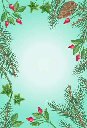 rose hips: Winter frame with rose hips, pine tree branches with cones and ivy leaves. Spare place for your text. For greeting card, postcard design. Happy holidays. New Year and Christmas concept.