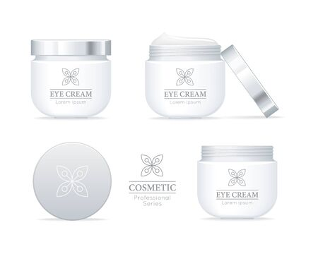 set series: Eye cream professional series. Set of white tubes for cosmetics on white background. Product for body, skin and face care, beauty, health, freshness, youth, hygiene. Realistic vector illustration. Illustration
