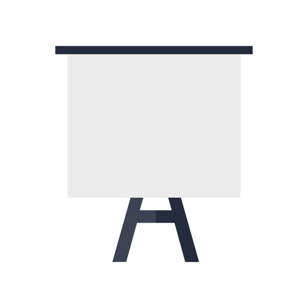 flipchart: Tripod whiteboard with blank screen. Tripod whiteboard icon. Empty board at a presentation. Tripod icon. Isolated object in flat design on white background. Illustration
