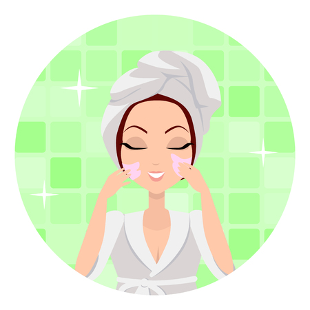 Moisturisation. Girl applying nourishing cream which allows skin to breathe and gives fresh. Woman instruction how to make up correctly. Girl cares about her look. Part of series of face care. Vector