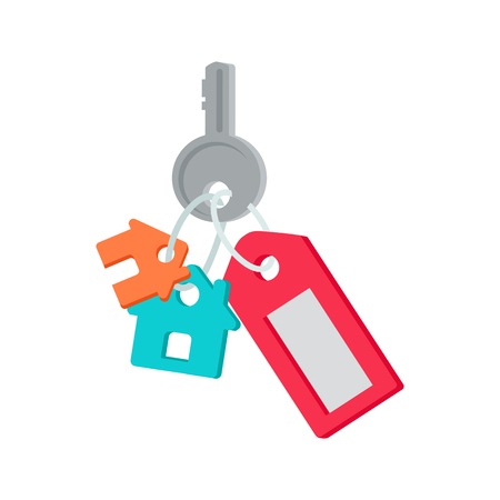 housing estate: Key to the front door vector. Flat style. Key from house with tag and cottage figures. New dwelling. Illustration for real estate company advertising, housing concepts. Isolated on white background.