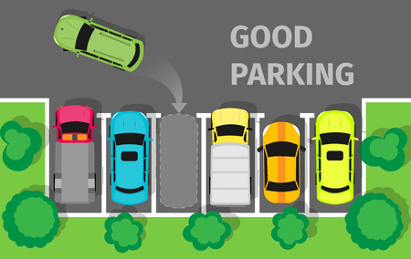 car park: Good parking. Car parked in appropriate way. Intelligent polite, courteous, civil car driver. Parking zone conceptual web banner. Respectful driver in parking lot or car park. Vector in flat style Illustration