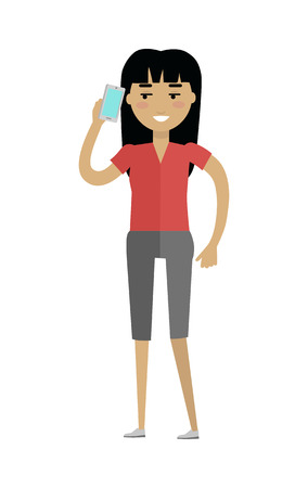 Young european woman in red blouse and grey breeches speaking on telephone. Caucasian beautiful girl. Attractive teenager lady in casual clothes. Part of series of people of the world. Vector Illustration