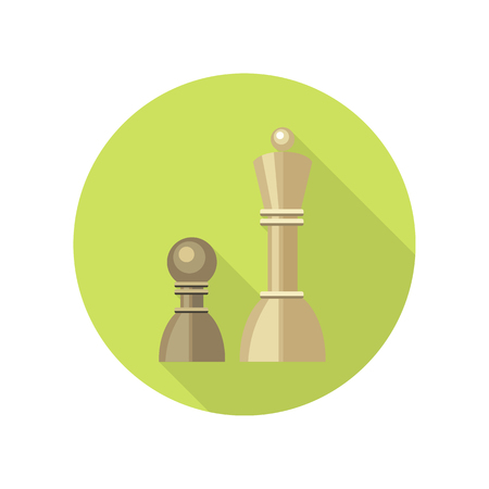 operation for: Strategic management icon. Two chess figures on green round background. Planning workflow, algorithm for development process, structure of operation. Vector illustration in flat design