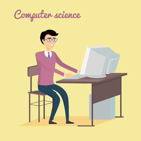 computer data: Computer science concept vector. Flat  style design. Man sitting at the table and working on computer. Illustration of programming learning and training, scientific analysis of the computer data.