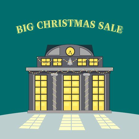 discount store: Big christmas sale glowing shop. Store with lighted windows waits for consumers. Retail shopping. Holiday discount season. Xmas new year purchase. Winter celebration. Special offer promotion. Vector