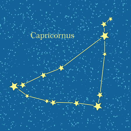 capricornus: Capricornus zodiacal constellation. Represented in form of a sea goat. Horned goat. Astronomical constellation and astrological zodiac symbol. Horoscope sign of the zodiac. Western astrology concept.