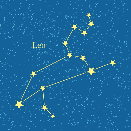 fifth: Leo zodiac on background of cosmic sky. Fifth astrological sign of the zodiac, originating from constellation of Leo. Horoscope sign of the zodiac. Astrology and mythology concept. Vector