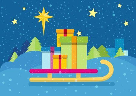 Kerstmis presenteert op de slee op de achtergrond van besneeuwde landschap en de hemel 's nachts ster. Rodelen met geschenkdozen. Nieuwjaar en Kerstmis concept. Sleigh dragen cadeaus. Ster van Bethlehem. Vector