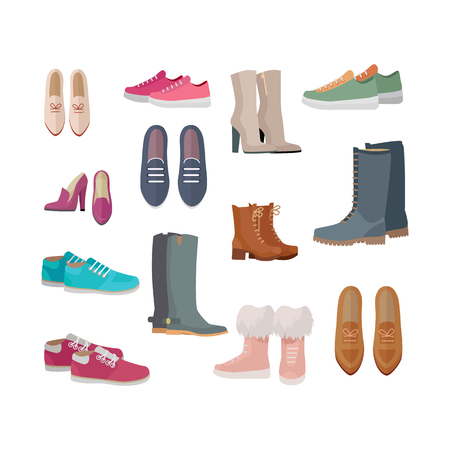 Set of woman s shoes. Flat design vector. Ankle and mid boots, sneakers, loafers, moccasins illustrations. Collection of footwear for all seasons. For store ad, fashion concepts. On white background Illustration