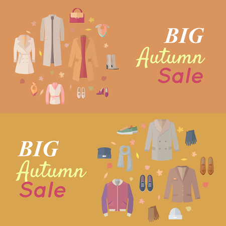 wite: Big autumn sales vector concept. Flat design. Warm womens and mens clothes, shoes and accessories for cold season on wite background with fallen leaves and sticker with text For store discounts ad design Illustration