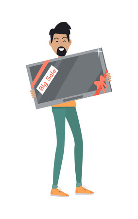 appliances: Discounts in electronics store concept. Smiling man standing with TV-set bought on big sale flat vector illustration on white background. Shopping on home appliances sellout. For shop promotions ad