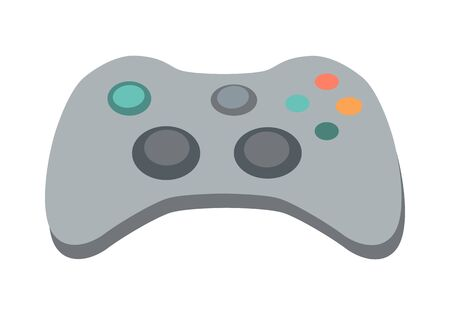 input device: Modern ergonomic gamepad icon. Gaming controller with force feedback buttons flat vector illustration isolated on white background. Input device for game concoles. For app pictogram, ad, web design