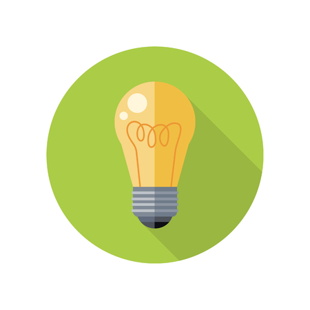 application button: Electrical bulb vector icon in flat style. New idea and brainstorming concept. Illustration for application button pictograms, infogpaphics element, logo, web page design. Isolated on white background