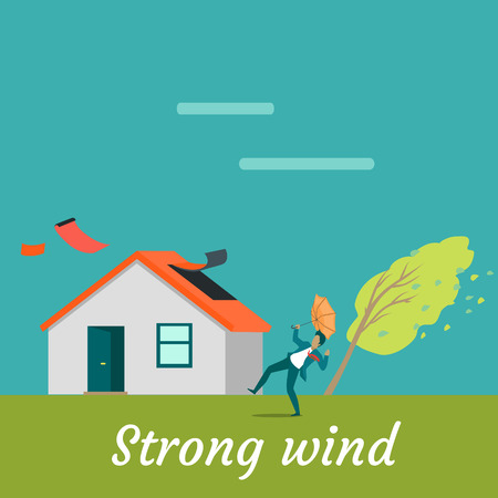 Strong wind destroying house and killing man. Natural disaster. Deadly wind near house ruins everything. Hurricane damages village cottage. Catastrophe caused by strong wind. Vector illustration