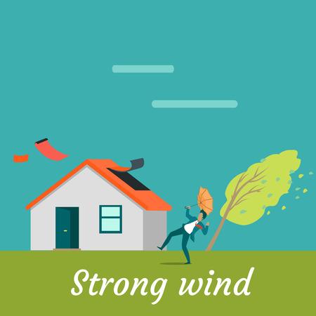 Sterke wind vernietigen van huis en het doden van de mens. Natuurramp. Deadly wind in de buurt van het huis ruïnes alles. Hurricane schade dorp cottage. Catastrofe veroorzaakt door sterke wind. vector illustratie