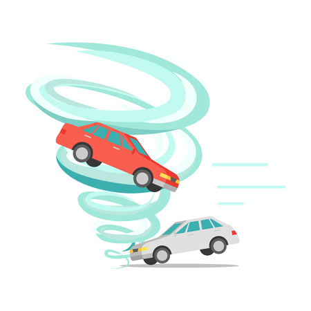 wind dramatic sky: Tornado twisted red car icon. White car stands on ground. Tornado ruins everything. Natural disaster. Deadly strong wind damages machines and nature. Catastrophe with whirlwind. Vector illustration