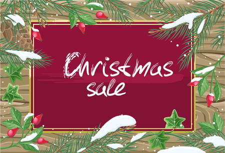 rose hips: Christmas sale banner. Winter background with rose hips, pine tree branches with cones and ivy leaves on wooden background. Discount, main sale of the year poster. Happy new year holidays. Vector