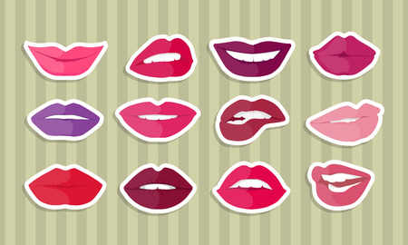 in amazement: Set of lips with expression of emotions. Comic funny emoticons expressing anger, happiness, sadness, joy, surprise, wonder, amazement. Different mood states collection isolated on white. Vector