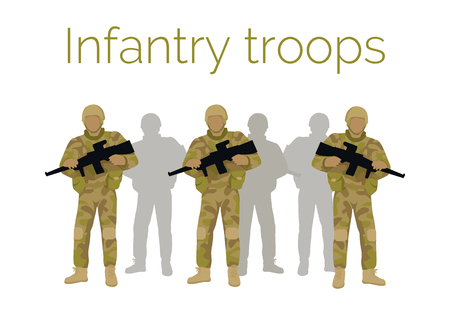 foot soldier: Infantry troops soldiers with weapon. Men in camouflage combat uniform. Branch of army engages in close military combat on foot. Bear large brunt of warfare, suffer great number of casualties. Vector