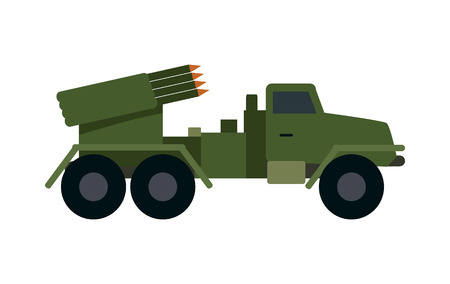 vehicle combat: Military vehicle with rockets isolated. Type of vehicle that includes all land combat and transportation vehicles used by military forces. Has vehicle armour plate and off-road capabilities. Vector Illustration