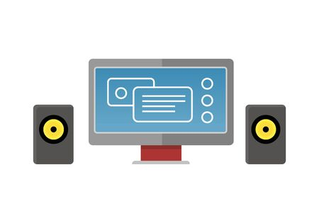 information  isolated: Gray computer monitor with colour diagram on screen. Monitor with audio speakers. Concept of online business, commerce statistics, business analysis, information. Isolated object on white background Illustration