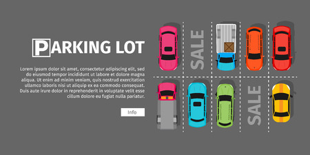 driveway: City parking vector web banner. Flat style. Shortage parking spaces. Large number of cars in a crowded parking. Urban infrastructure and car boom. Parking lot