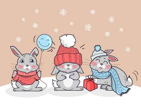 warm cloth: Happy winter friends. Three little rabbits in big red hat, scarf and lollipop. Funny bunny wearing warm cloth. Winter landscape with cartoon characters. Small hare in flat style design. Vector