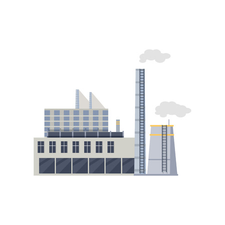 destroying: Industry manufactory building icon. Factory producing oil and gas, metals and rubber, energy and power. Nuclear manufacturing station making smoke and air pollution. Destroying nature. Vector Illustration