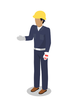blue overall: Worker in uniform vector illustration. Isometric projection. Man character in blue overall, helmet, gloves standing with raised hand for handshake. Builder, engineer, courier. On white background