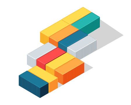 depot: Sea containers vector. Isometric projection illustration. Line of different color metal containers for goods transportation on shops. For delivery company ad design, icons, games. Isolated on white