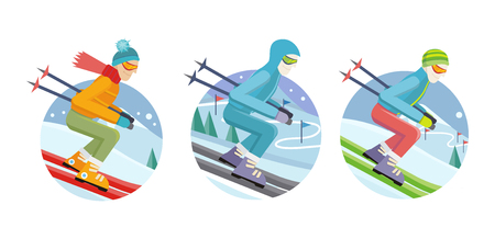 mountainside: Set of skier man icons. Flat design. Men in ski suit and sunglasses sliding from hill with slalom flags. Winter entertainments, outdoor activity and sport. Extreme slalom. For mountain resort ad