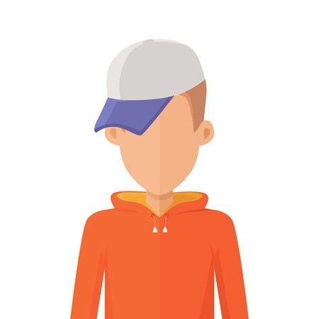 arbitrario: Hombre del carácter avatar del vector en el diseño de estilo plano. Adolescente retrato icono personaje masculino. Ilustración para la identidad en Internet, conceptos, pictogramas de aplicaciones, infografía. Aislado en el fondo blanco.