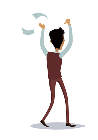 great success: Business success illustration. Flat style design vector. Great deal, good day concept. Happy man with raised hands enjoying his success. Thumbs up. Isolated on white background.